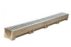 Комплект: лоток водоотводной Лайт ЛВ -10.12.10- полимербетонный с решеткой стальной кл.А