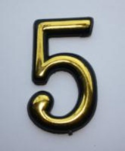 "Цифра дверного номера ""5"" золото самоклеющ h=5 см.(3000/100)"