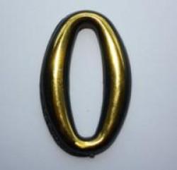 "Цифра дверного номера ""0"" золото самоклеющ h=5 см.(3000/100)"