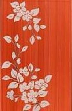 Декор Цветы 25х40 терракотовый темный